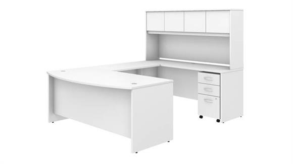 "U Shaped Desks Bush Furniture 72""W x 36""D U-Shaped Desk with Hutch and Mobile File Cabinet"