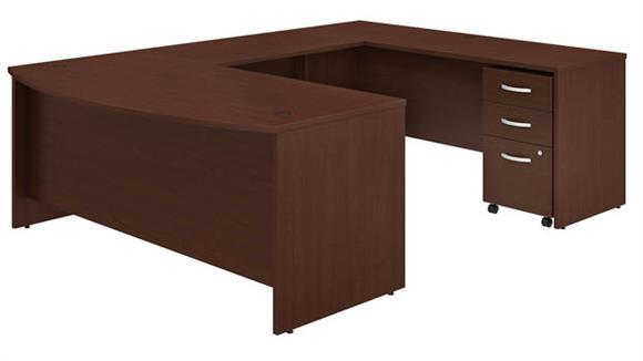 """U Shaped Desks Bush Furniture 72"""" W x 36"""" D U-Shaped Desk with Assembled Mobile File Cabinet"""