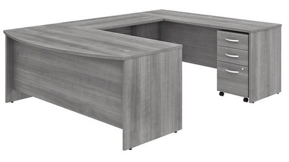 """U Shaped Desks Bush Furniture 72""""W x 36""""D U-Shaped Desk with Assembled Mobile File Cabinet"""