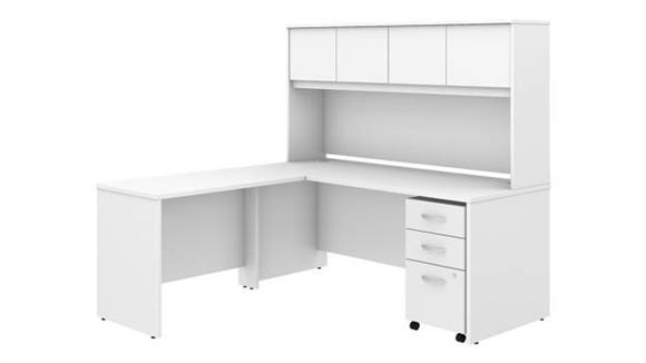 "Executive Desks Bush Furniture 72""W x 30""D L-Shaped Desk with Hutch, Mobile File Cabinet and 42""W Return"