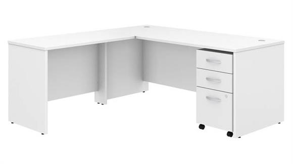 "Executive Desks Bush Furniture 72""W x 30""D L Shaped Desk with Mobile File Cabinet and 42""W Return"