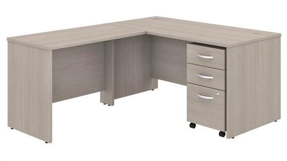 "Executive Desks Bush Furniture 60"" W x 30"" D L-Shaped Desk with 42"" W Return and Assembled Mobile File Cabinet"