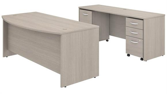 """Executive Desks Bush Furniture 72"""" W x 36"""" D Bow Front Desk and Credenza with 2 Assembled Mobile File Cabinets"""