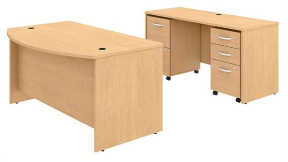 """Executive Desks Bush Furniture 60"""" W x 36"""" D Bow Front Desk and Credenza with 2 Assembled Mobile File Cabinets"""