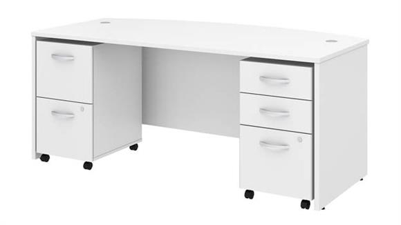 "Executive Desks Bush Furniture 72"" W x 36"" D Bow Front Desk with 2 Assembled Mobile File Cabinets"