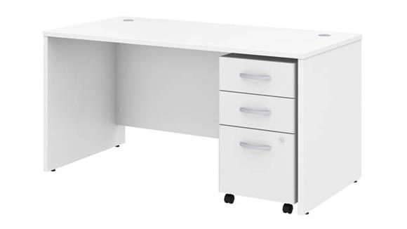 "Executive Desks Bush Furniture 60"" W x 30"" D Office Desk with Assembled Mobile File Cabinet"