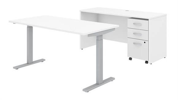 """Adjustable Height Desks & Tables Bush Furniture 60"""" W x 30"""" D Height Adjustable Standing Desk, Credenza and Assembled Mobile File Cabinet"""