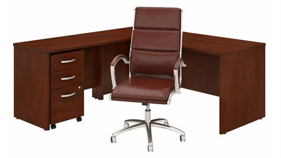 """L Shaped Desks Bush Furniture 72"""" W L-Shaped Desk with Assembled Mobile File Cabinet and High Back Office Chair"""