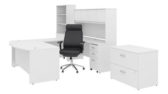 "U Shaped Desks Bush Furniture 72""W x 36""D U Shaped Desk with Hutch, Bookcase, File Cabinets and High Back Office Chair"