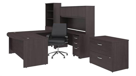 "U Shaped Desks Bush Furniture 72""W x 36""D U Shaped Desk with Hutch, Bookcase, File Cabinets and Mid Back Office Chair"