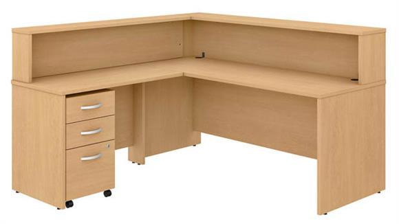 "Reception Desks Bush Furniture 72""W L-Shaped Reception Desk with Shelf and Mobile File Cabinet"