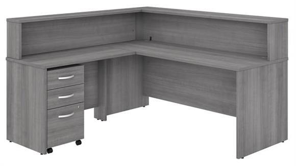"Reception Desks Bush Furniture 72""W x 30""D L-Shaped Reception Desk with Shelf and Assembled Mobile File Cabinet"