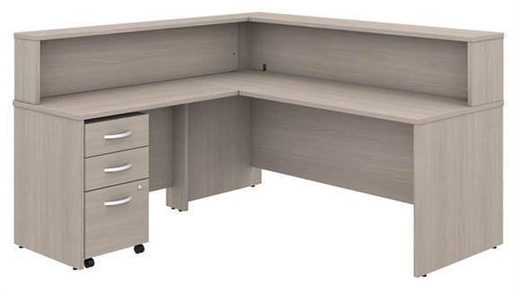"Reception Desks Bush Furniture 72"" W x 30"" D L-Shaped Reception Desk with Shelf and Assembled Mobile File Cabinet"