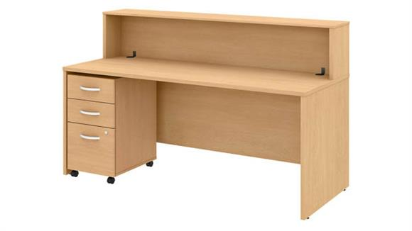 "Reception Desks Bush Furniture 72""W Reception Desk with Shelf and Mobile File Cabinet"