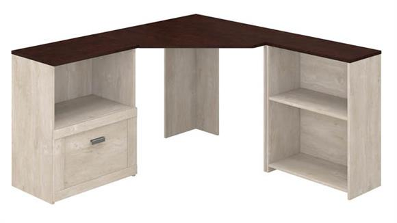 Corner Desks Bush Furniture Corner Desk with Lateral File Cabinet and 2 Shelf Bookcase