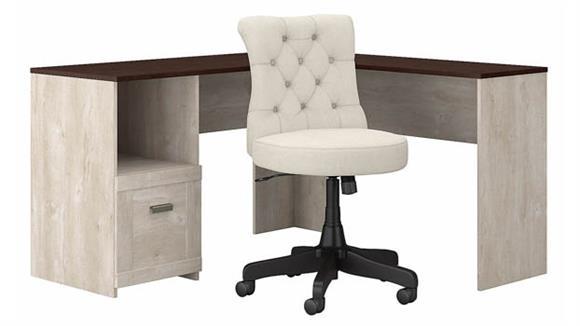 L Shaped Desks Bush Furniture L-Shaped Desk and Mid Back Tufted Office Chair Set
