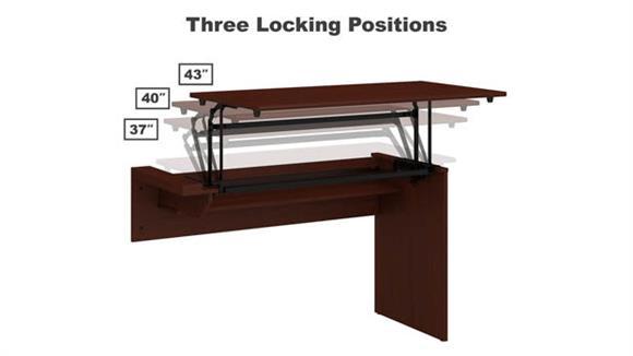 """Adjustable Height Desks & Tables Bush Furniture 42""""W 3 Position Sit to Stand Desk Return"""