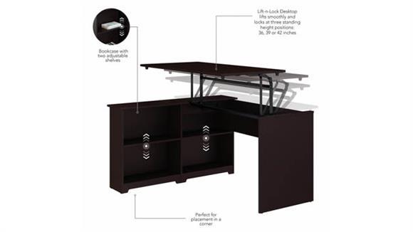 """Adjustable Height Desks & Tables Bush Furniture 52""""W 3 Position Sit to Stand Corner Bookshelf Desk"""