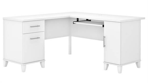 "L Shaped Desks Bush Furniture 60"" W L-Shaped Desk with Storage"