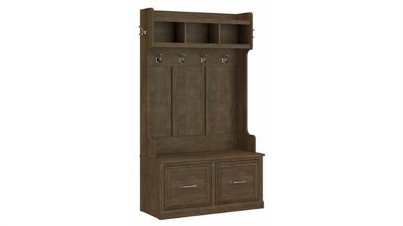 "Coat Racks & Hall Trees Bush Furniture 40""W Hall Tree and Shoe Storage Bench with Doors"