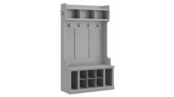 "Coat Racks & Hall Trees Bush Furniture 40""W Hall Tree and Shoe Storage Bench with Shelves"