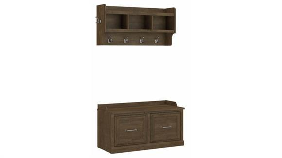 "Coat Racks Bush Furniture 40""W Shoe Storage Bench with Doors and Wall Mounted Coat Rack"