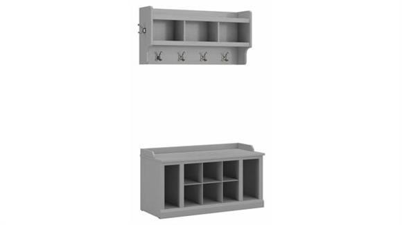 "Coat Racks Bush Furniture 40""W Shoe Storage Bench with Shelves and Wall Mounted Coat Rack"