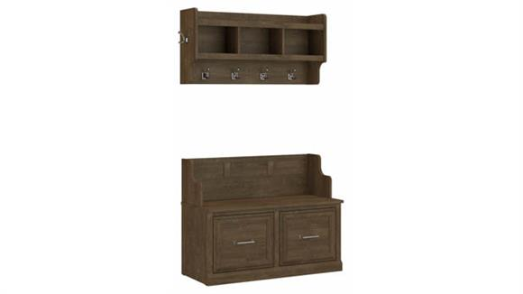 """Benches Bush Furniture 40""""W Entryway Bench with Doors and Wall Mounted Coat Rack"""