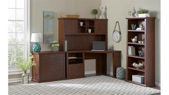 """Corner Desks Bush Furniture 60""""W Corner Desk with Hutch, Lateral File Cabinet and 5 Shelf Bookcase"""