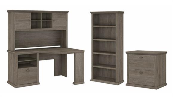 """Corner Desks Bush Furniture 60"""" W Corner Desk with Hutch, Lateral File Cabinet and 5 Shelf Bookcase"""