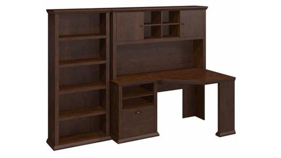 "Corner Desks Bush Furniture 60"" W Corner Desk with Hutch and 5 Shelf Bookcase"