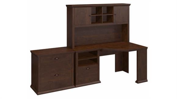 """Corner Desks Bush Furniture 60"""" W Corner Desk with Hutch and Lateral File Cabinet"""