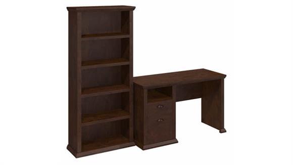 "Computer Desks Bush Furniture 50"" W Home Office Desk with 5 Shelf Bookcase"