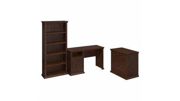 "Computer Desks Bush Furniture 50"" W Desk with Lateral File Cabinet and 5 Shelf Bookcase"