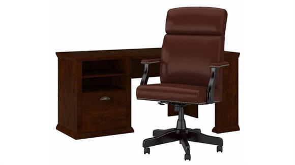 """Corner Desks Bush Furniture 60"""" W Corner Desk and High Back Leather Executive Office Chair Set"""