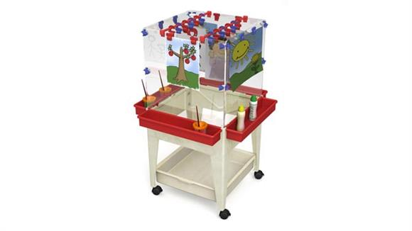 Activity & Play Child Brite Youth 4 Station Space Saver Easel with Mega Tray