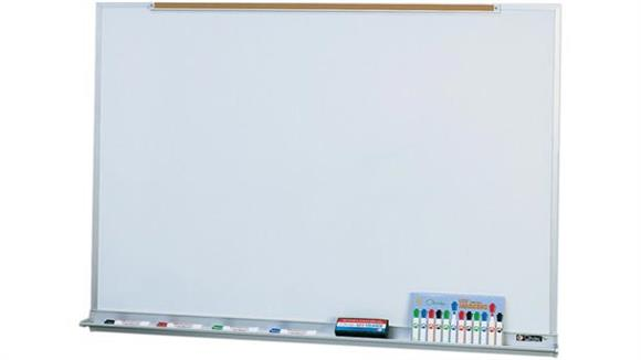 White Boards & Marker Boards Claridge 4 x 12 Porcelain Markerboard with Map Rail