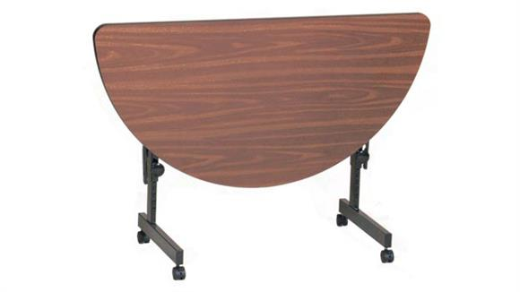 "Folding Tables Correll 48"" x 24"" Half Round Deluxe Flip Top Table"