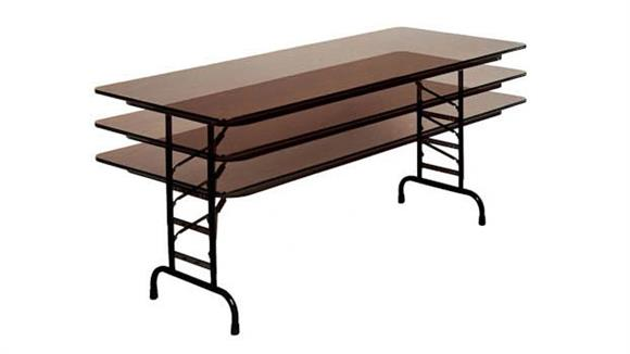 "Folding Tables Correll 24"" x 48"" Adjustable Height Melamine Top Folding Table"
