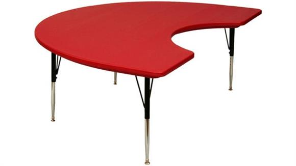 """Activity Tables Correll 72"""" x 48"""" Blow Molded Kidney Shaped Activity Table"""