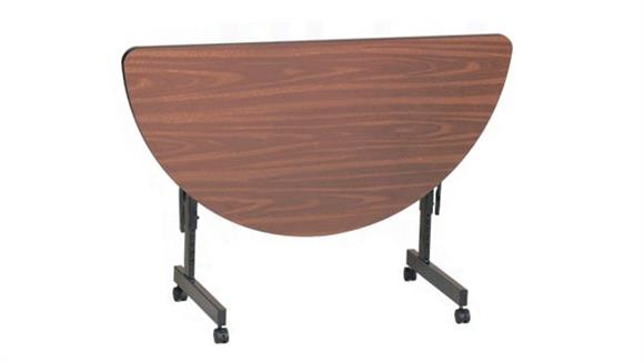 "Folding Tables Correll 48"" x 24"" Half Round Econoline Flip Top Table"