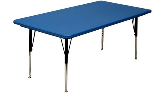 "Activity Tables Correll 60"" x 30"" Blow Molded Adjustable Height Activity Table"