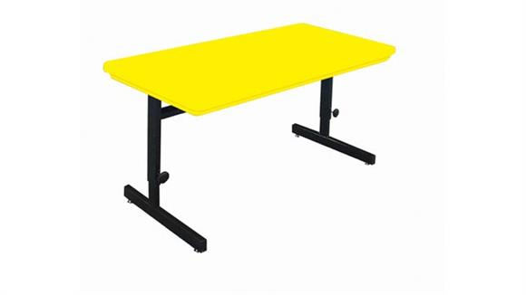 """Training Tables Correll Blow Molded 60"""" x 30"""" Adjustable Height Work Station"""