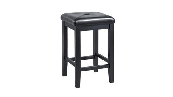 Counter Stools Crosley  Upholstered Square Seat Back Counter Stool with 24 Inch Seat Height