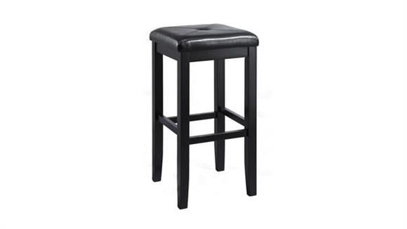Bar Stools Crosley  Upholstered Square Seat Back Bar Stool with 29 Inch Seat Height