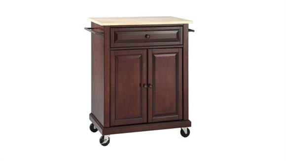 Kitchen Carts Crosley  Natural Wood Top Portable Kitchen Cart