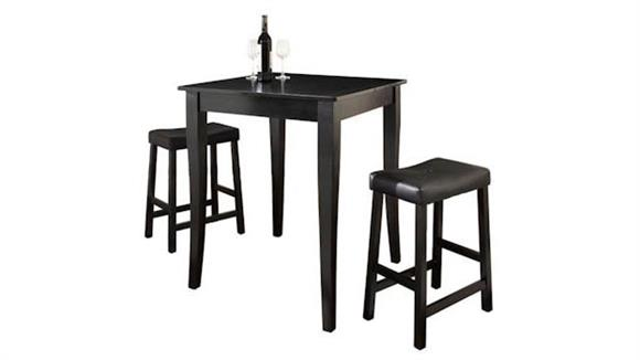 Dining Tables & Sets Crosley  3 Piece Pub Dining Set with Cabriole Leg and Upholstered Saddle Stools