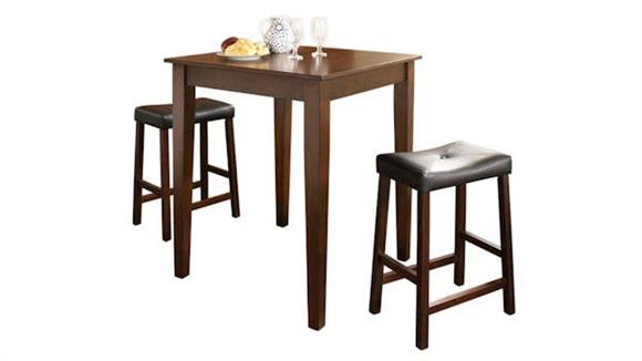 Dining Tables & Sets Crosley  3 Piece Pub Dining Set with Tapered Leg and Upholstered Saddle Stools