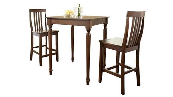 Dining Tables & Sets Crosley  3 Piece Pub Dining Set with Turned Leg and School House Stools