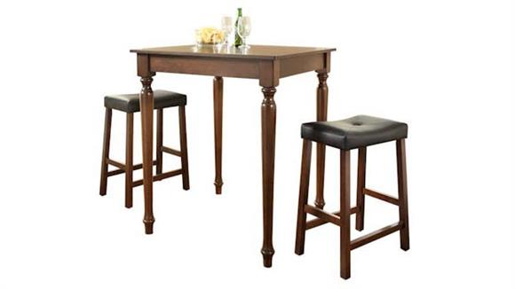 Dining Tables & Sets Crosley  3 Piece Pub Dining Set with Turned Leg and Upholstered Saddle Stools